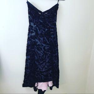Diane Von Furstenberg Crushed Velvet Black Dress